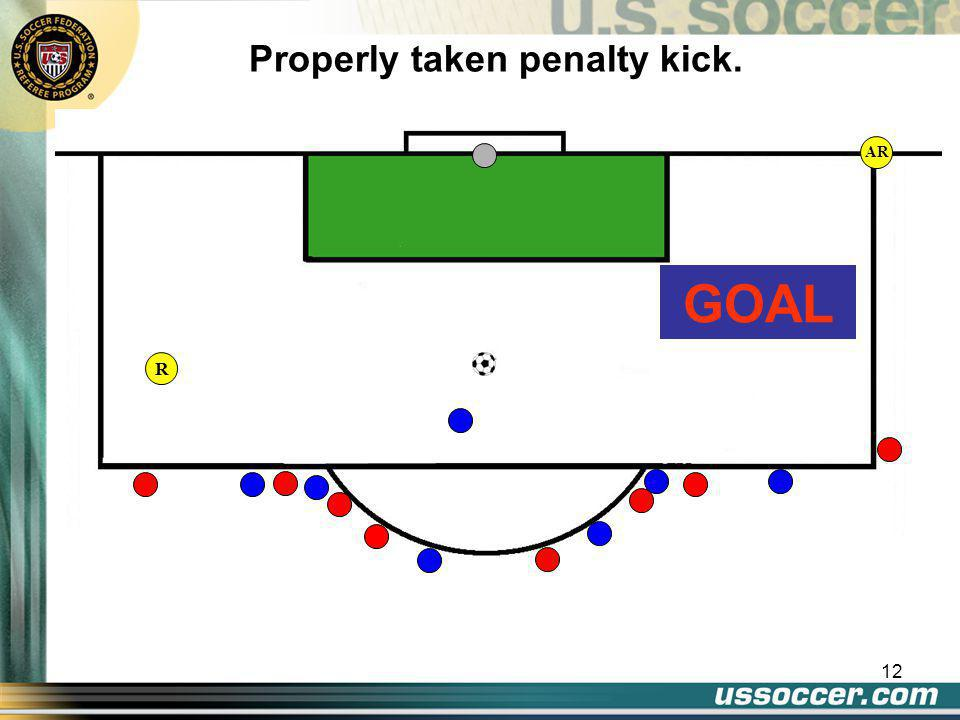 12 AR Properly taken penalty kick. GOAL R