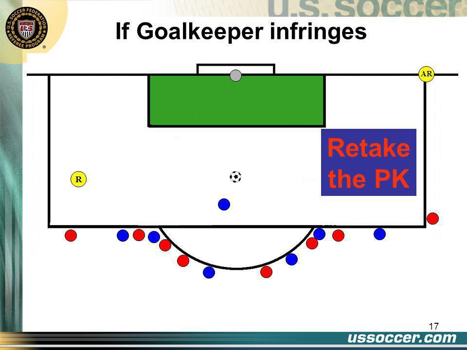 17 AR If Goalkeeper infringes Retake the PK R