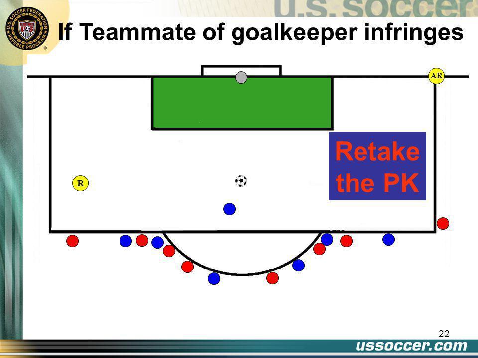 22 AR If Teammate of goalkeeper infringes Retake the PK R