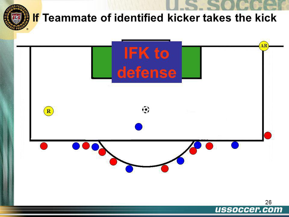 26 AR If Teammate of identified kicker takes the kick IFK to defense R