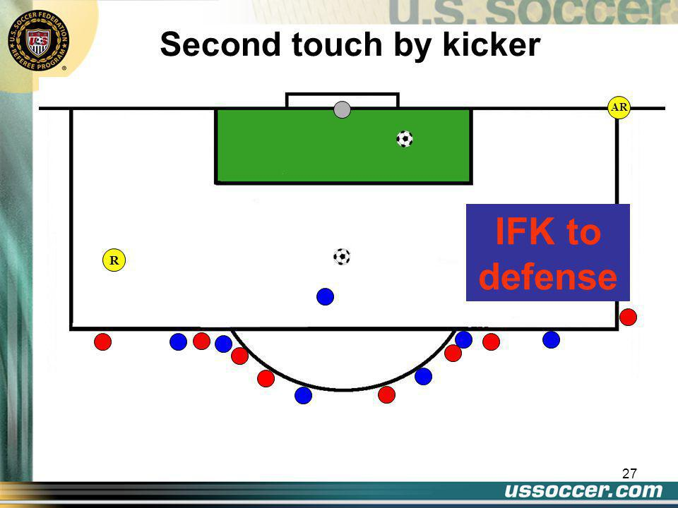 27 AR Second touch by kicker IFK to defense R