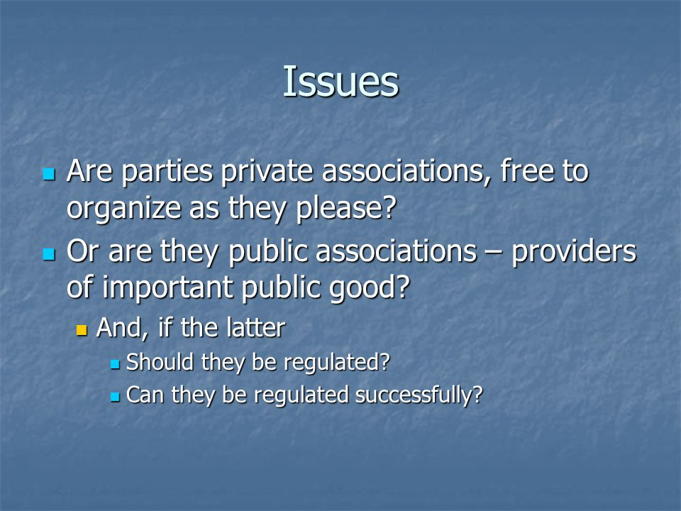 Issues Are parties private associations, free to organize as they please.