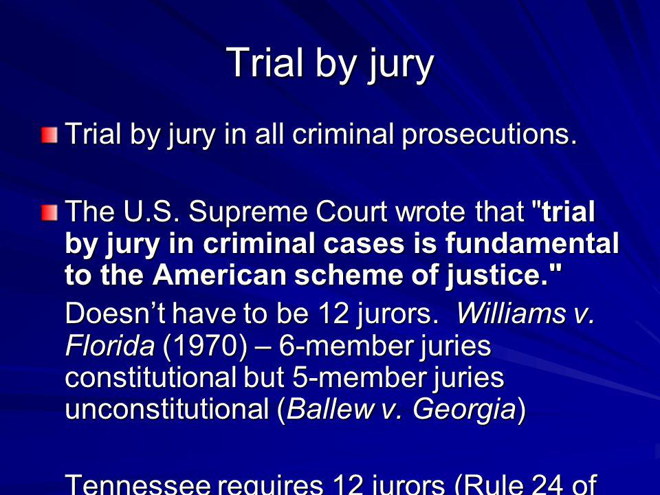 Trial by jury Trial by jury in all criminal prosecutions.