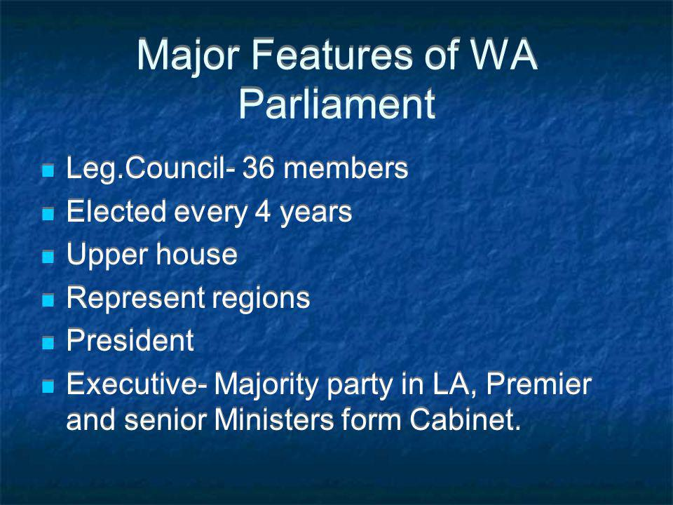 Major Features of WA Parliament Leg.Council- 36 members Elected every 4 years Upper house Represent regions President Executive- Majority party in LA, Premier and senior Ministers form Cabinet.