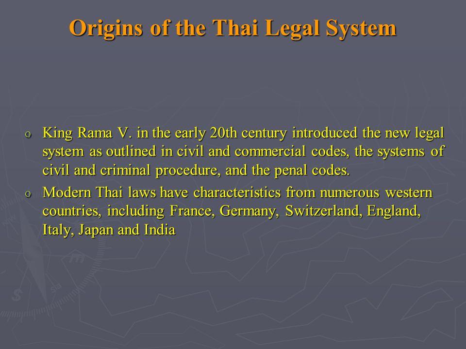 Origins of the Thai Legal System o King Rama V.