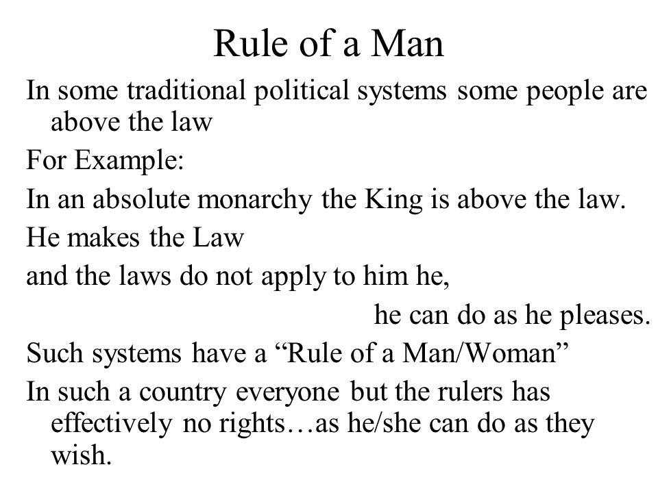 Rule of Law In a country that has Rule of Law Individuals can have rights You know what the law is and so can avoid breaking it.