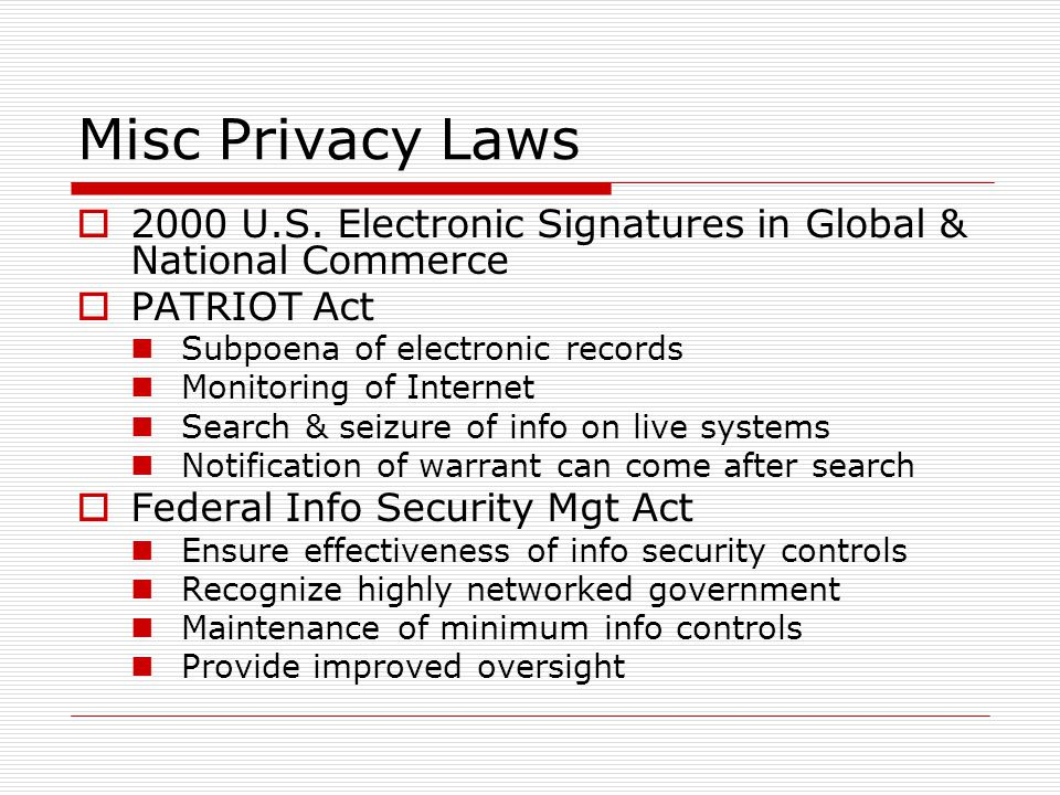 Misc Privacy Laws 2000 U.S.