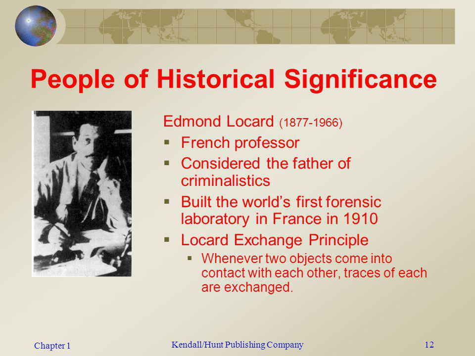 Chapter 1 Kendall/Hunt Publishing Company12 People of Historical Significance Edmond Locard (1877-1966) French professor Considered the father of crim