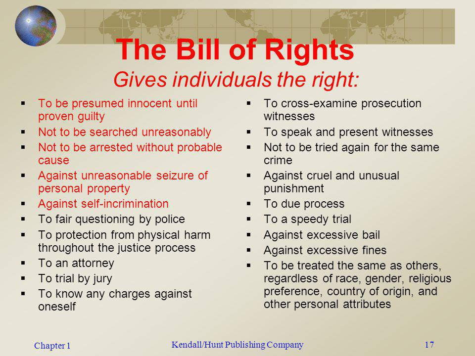 Chapter 1 Kendall/Hunt Publishing Company17 The Bill of Rights Gives individuals the right: To be presumed innocent until proven guilty Not to be sear