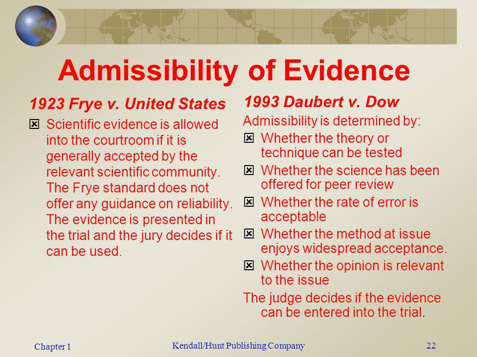 Chapter 1 Kendall/Hunt Publishing Company22 Admissibility of Evidence 1923 Frye v. United States Scientific evidence is allowed into the courtroom if