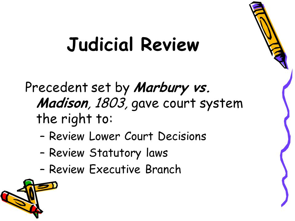 Judicial Review Precedent set by Marbury vs.