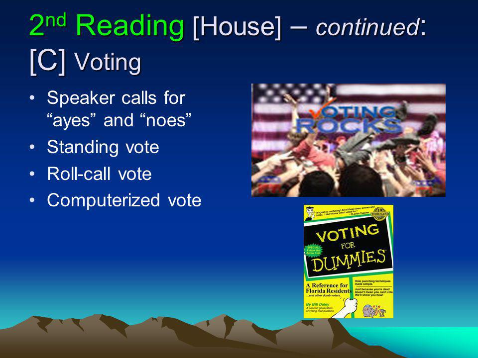 2 nd Reading [House] – continued : [C] Voting Speaker calls for ayes and noes Standing vote Roll-call vote Computerized vote