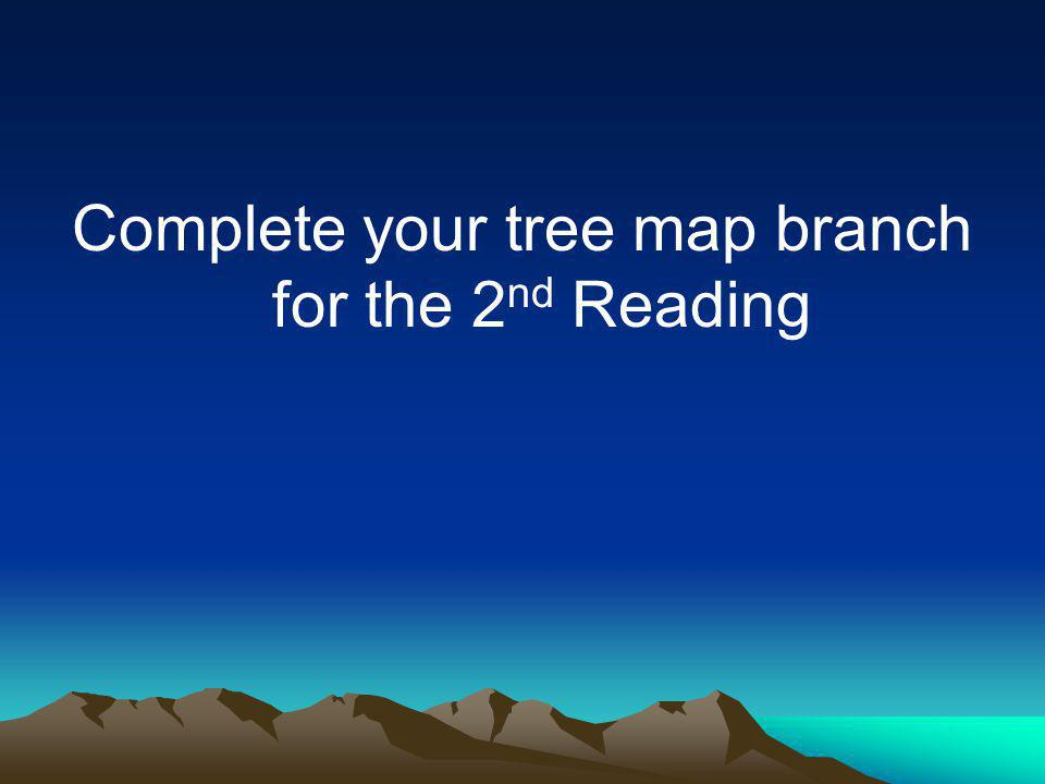 Complete your tree map branch for the 2 nd Reading