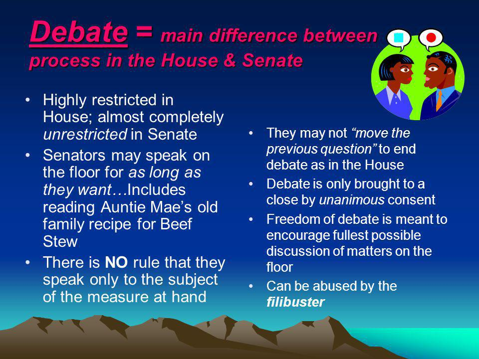 Debate = main difference between process in the House & Senate Highly restricted in House; almost completely unrestricted in Senate Senators may speak on the floor for as long as they want…Includes reading Auntie Maes old family recipe for Beef Stew There is NO rule that they speak only to the subject of the measure at hand They may not move the previous question to end debate as in the House Debate is only brought to a close by unanimous consent Freedom of debate is meant to encourage fullest possible discussion of matters on the floor Can be abused by the filibuster
