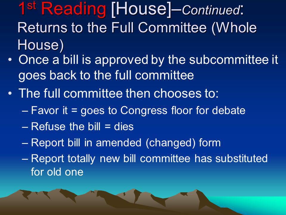 1 st Reading [House]– Continued : Returns to the Full Committee (Whole House) Once a bill is approved by the subcommittee it goes back to the full com