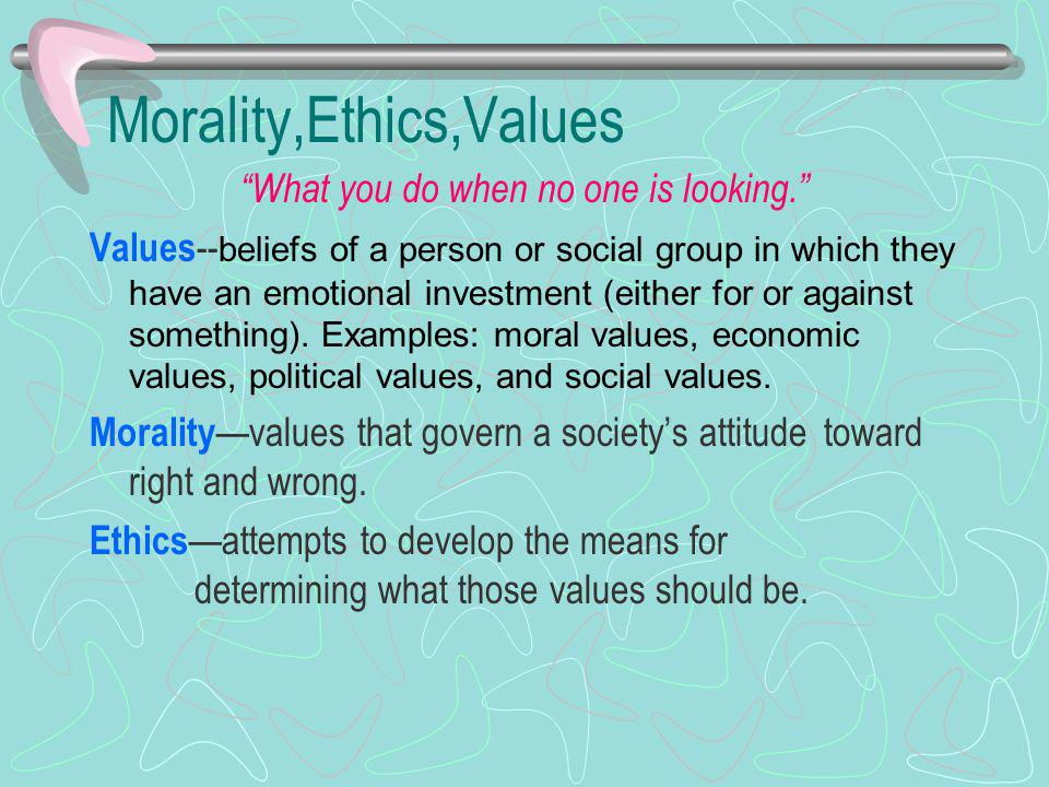 Morality,Ethics,Values What you do when no one is looking.
