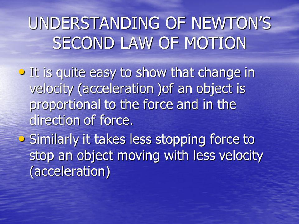 UNDERSTANDING OF NEWTONS SECOND LAW OF MOTION It is quite easy to show that change in velocity (acceleration )of an object is proportional to the forc