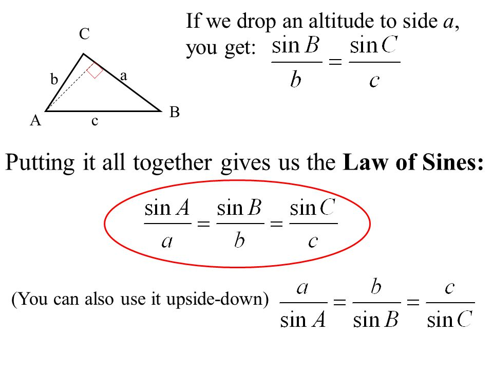 A B C a b c If we drop an altitude to side a, you get: Putting it all together gives us the Law of Sines: (You can also use it upside-down)