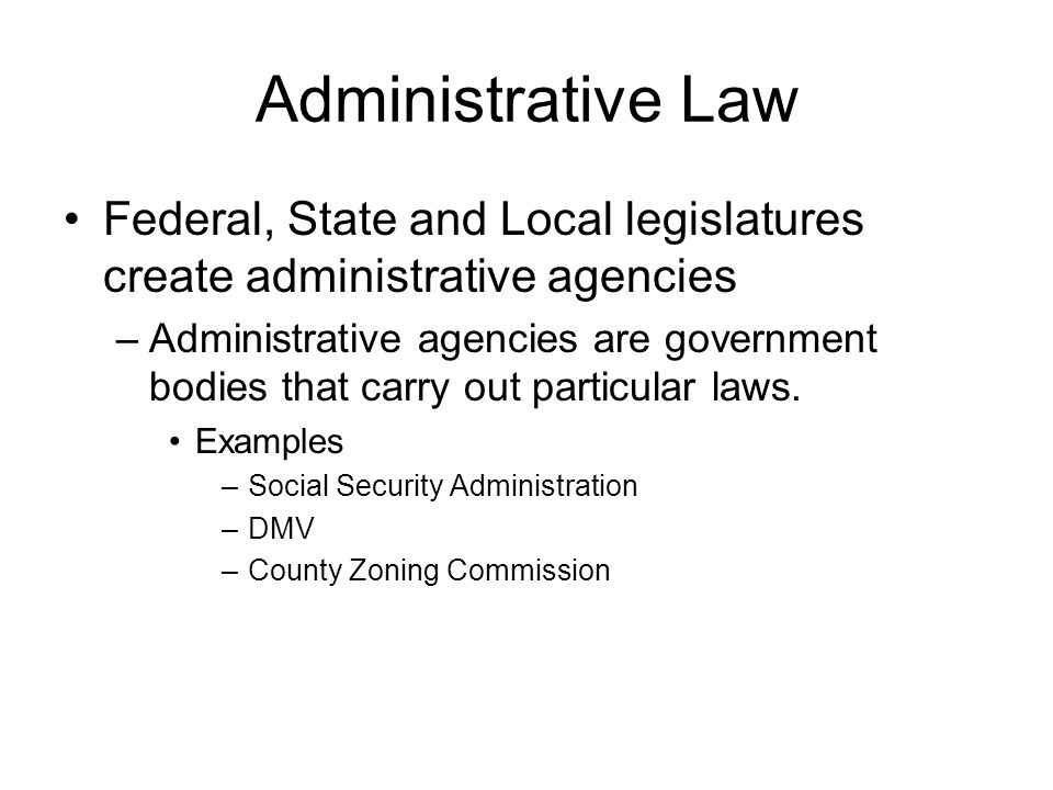 Administrative Law Federal, State and Local legislatures create administrative agencies –Administrative agencies are government bodies that carry out