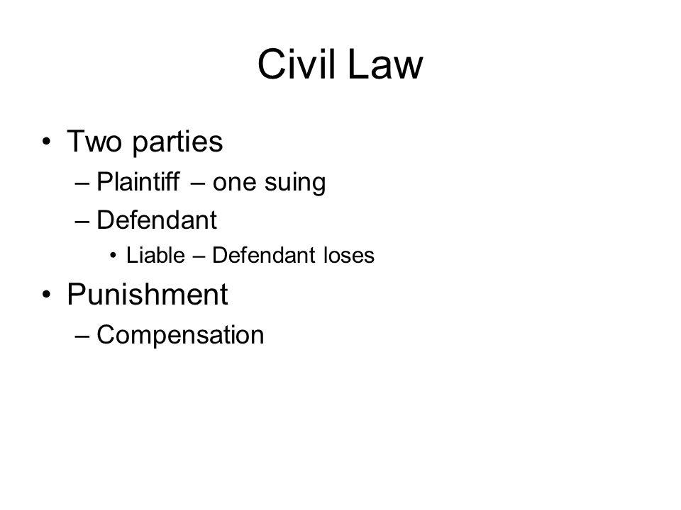 Civil Law Two parties –Plaintiff – one suing –Defendant Liable – Defendant loses Punishment –Compensation