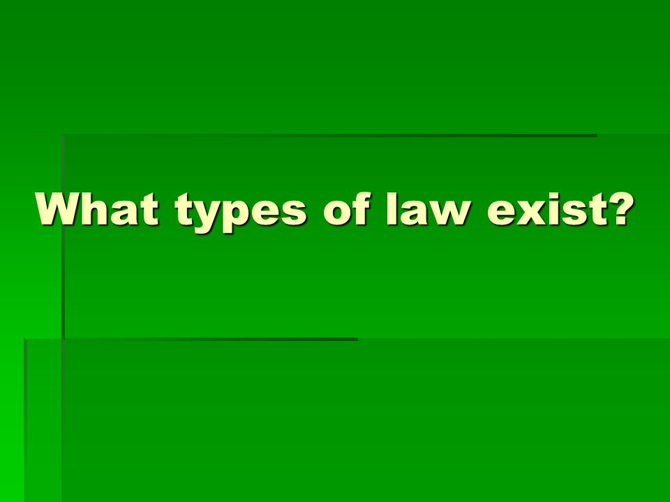Civil Law Relating to disputes among two or more individuals or between individuals and the government Relating to disputes among two or more individuals or between individuals and the government Often does not involve a crime Often does not involve a crime Examples: land disputes, divorce, contract law Examples: land disputes, divorce, contract law