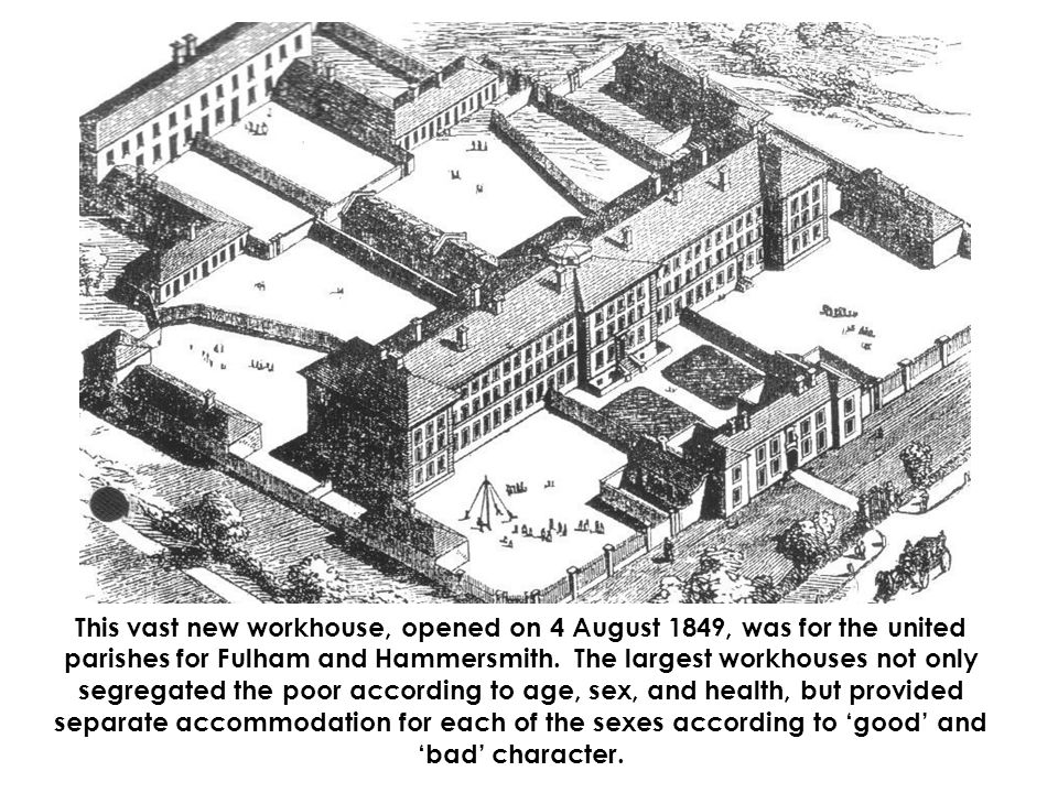 This vast new workhouse, opened on 4 August 1849, was for the united parishes for Fulham and Hammersmith.