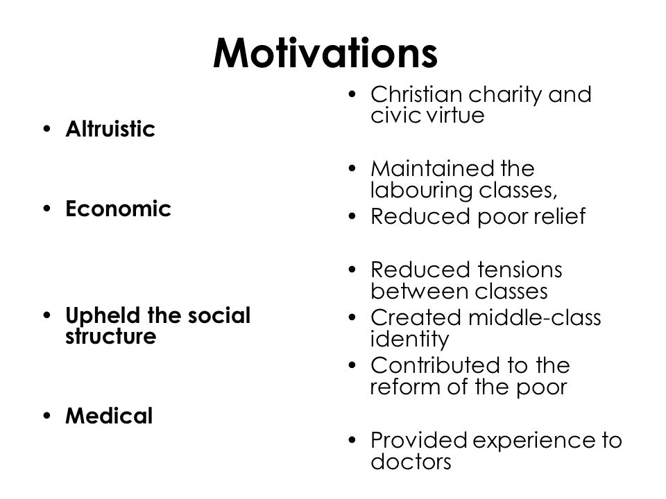 Motivations Altruistic Economic Upheld the social structure Medical Christian charity and civic virtue Maintained the labouring classes, Reduced poor relief Reduced tensions between classes Created middle-class identity Contributed to the reform of the poor Provided experience to doctors