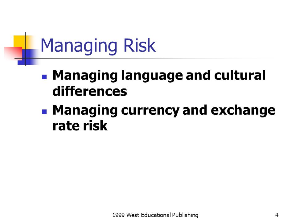 1999 West Educational Publishing25 Conclusion Global knowledge Trade, licensing and investment How to manage risk.