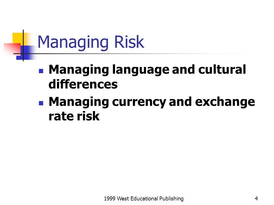 1999 West Educational Publishing5 Managing Risk Political risk.