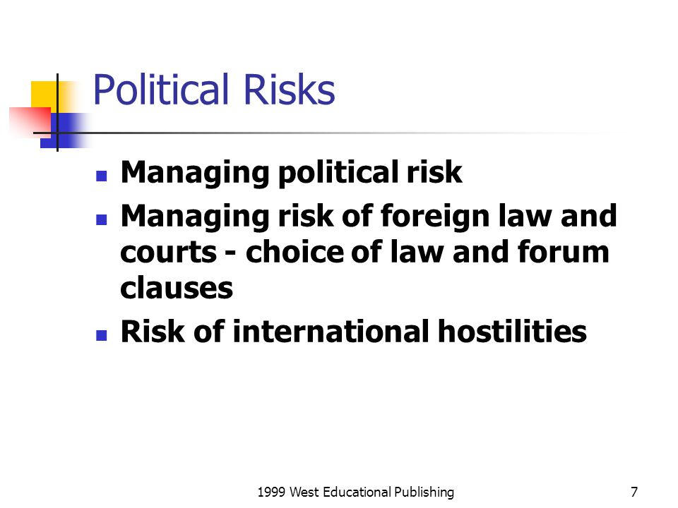 1999 West Educational Publishing8 Implications for International Business Political, economic, and legal environments of a country influence attractiveness raise ethical Issues Attractiveness balance long-term risks with short-term benefits of doing business in a foreign country benefits depend on: size, wealth, future economic growth first mover advantages identify star future economies costs are affected by: political payoffs economic sophistication (may be more costly to operate in LDCs, no infrastructure) legal framework impact on costs