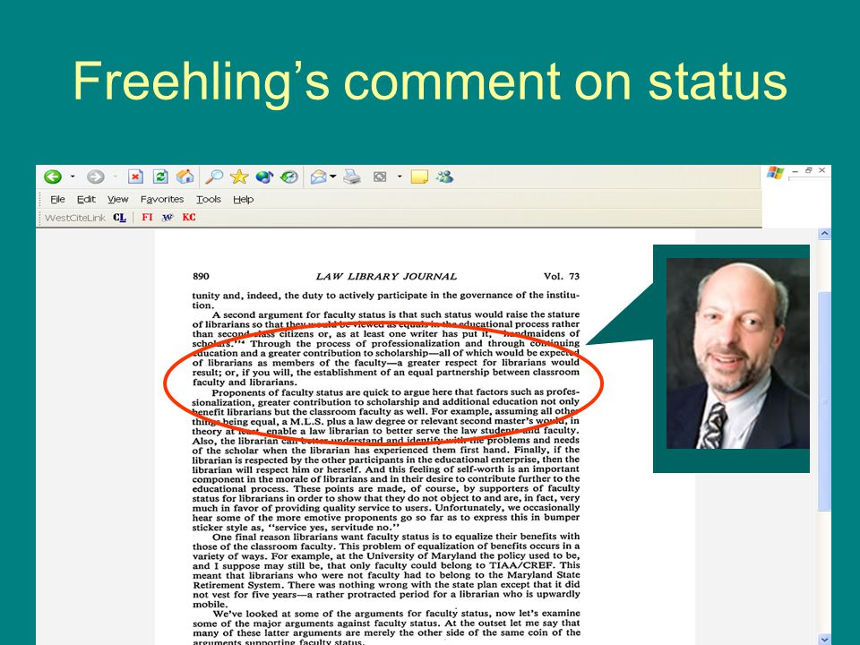 Freehlings comment on status
