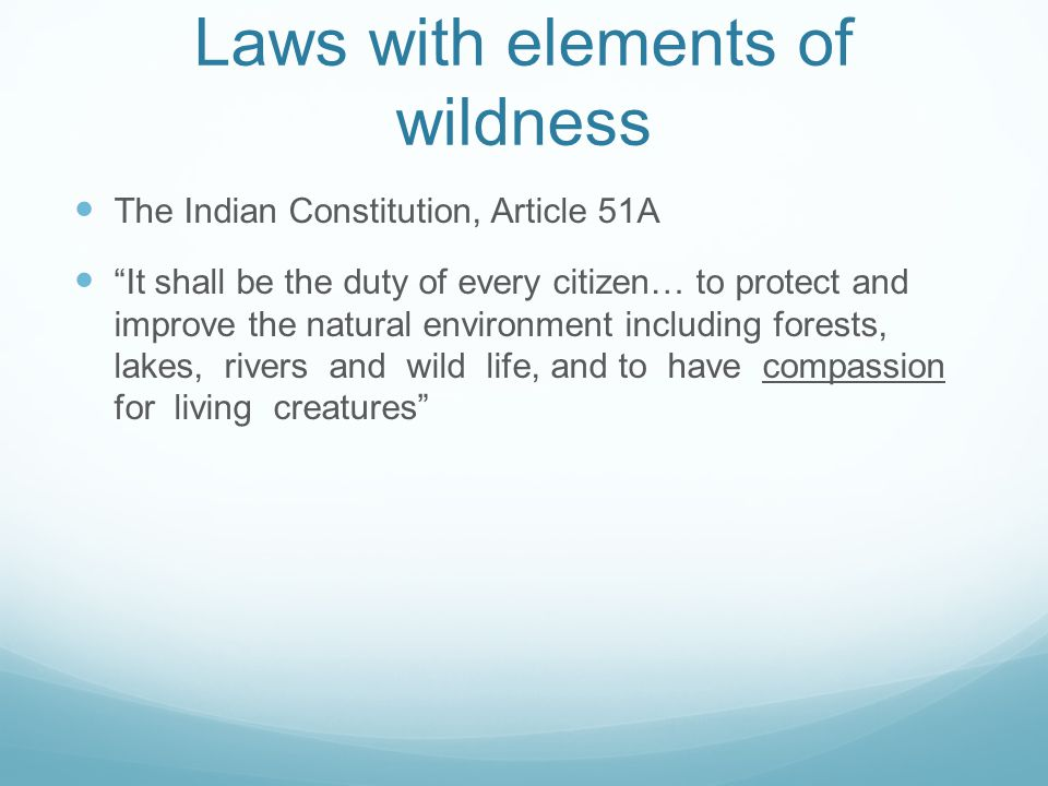 Laws with elements of wildness The Indian Constitution, Article 51A It shall be the duty of every citizen… to protect and improve the natural environment including forests, lakes, rivers and wild life, and to have compassion for living creatures