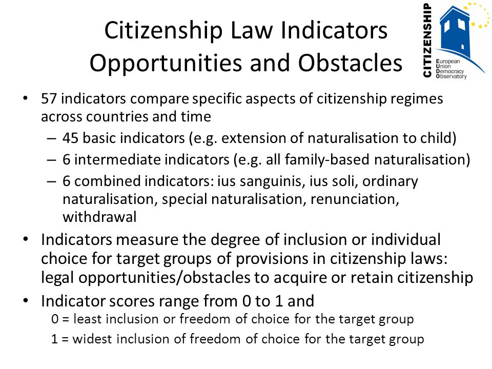 Citizenship Law Indicators Opportunities and Obstacles 57 indicators compare specific aspects of citizenship regimes across countries and time – 45 basic indicators (e.g.