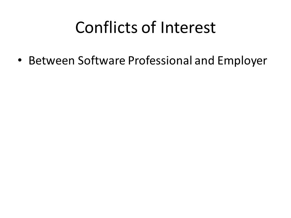 Conflicts of Interest Between Software Professional and Employer