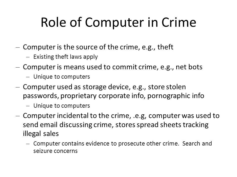 Slide #6-8 Computer Fraud and Abuse Act (CFAA) of 1986 Criminalize unauthorized access to protected computers – Federal computers – Computers owned by large financial institutions – Computers user for communication or interstate commerce Pretty much any computer on the Internet USAPA includes foreign computers if they affect interstate commerce Criminalizes – Computer extortion, Computer Fraud, Theft of financial information, trafficking in passwords, transmitting malware.