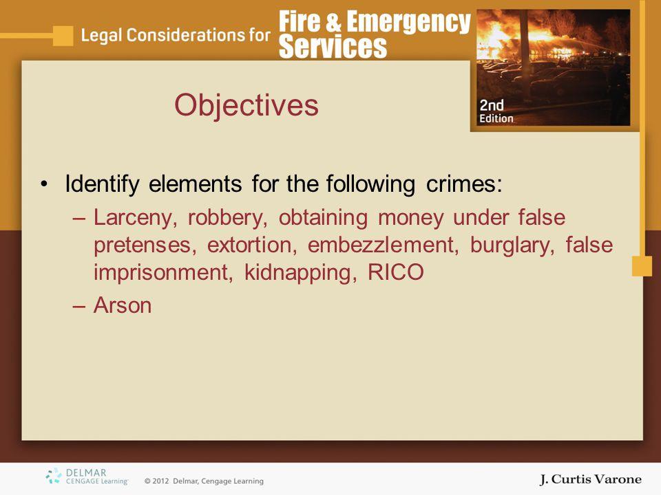 Identify elements for the following crimes: –Larceny, robbery, obtaining money under false pretenses, extortion, embezzlement, burglary, false impriso