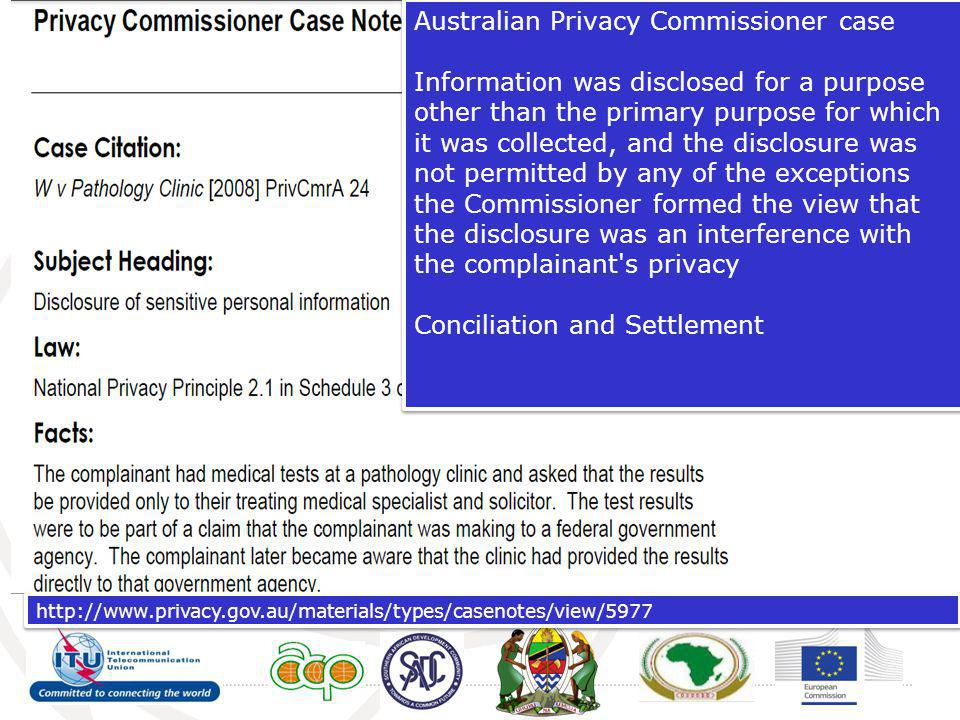 Australian Privacy Commissioner case Information was disclosed for a purpose other than the primary purpose for which it was collected, and the disclo