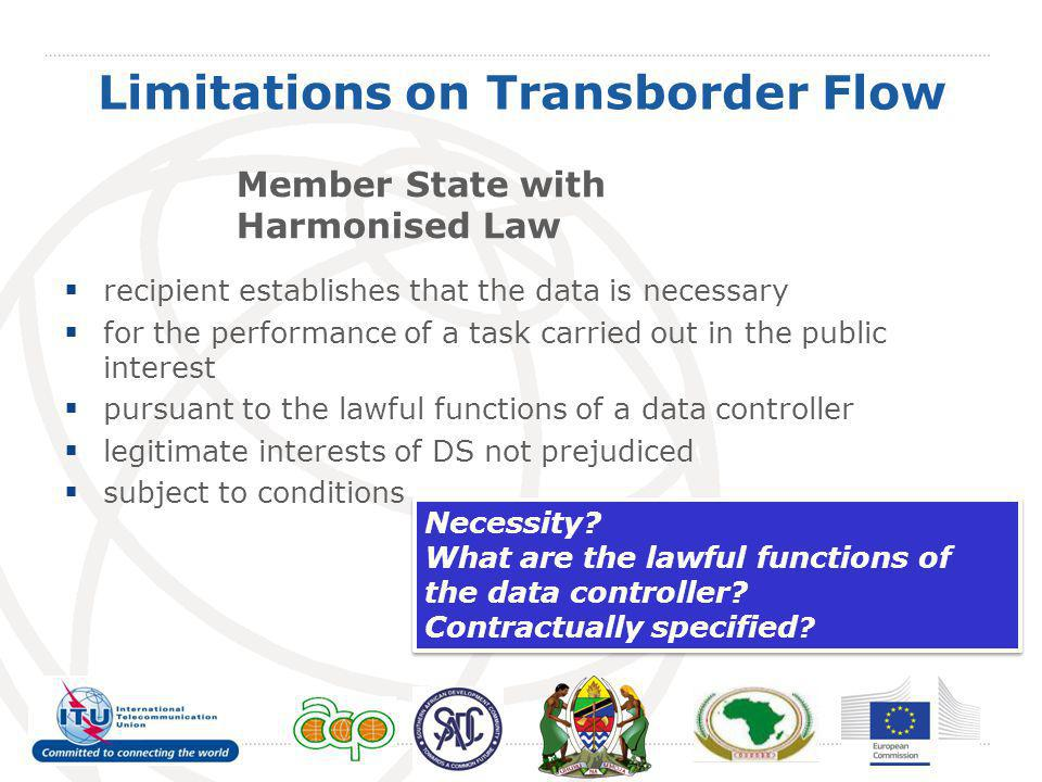 Limitations on Transborder Flow Member State with Harmonised Law recipient establishes that the data is necessary for the performance of a task carrie