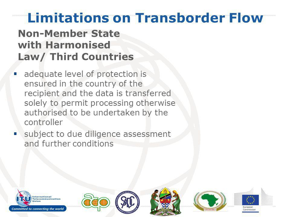 Limitations on Transborder Flow Non-Member State with Harmonised Law/ Third Countries adequate level of protection is ensured in the country of the re