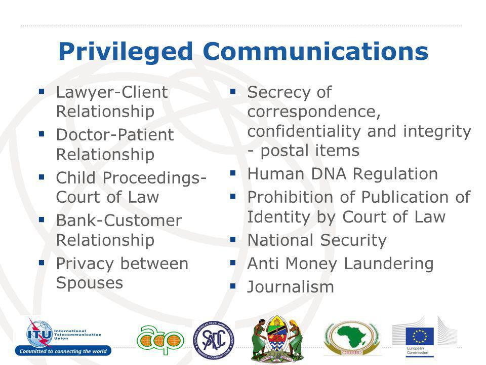 Privileged Communications Lawyer-Client Relationship Doctor-Patient Relationship Child Proceedings- Court of Law Bank-Customer Relationship Privacy be