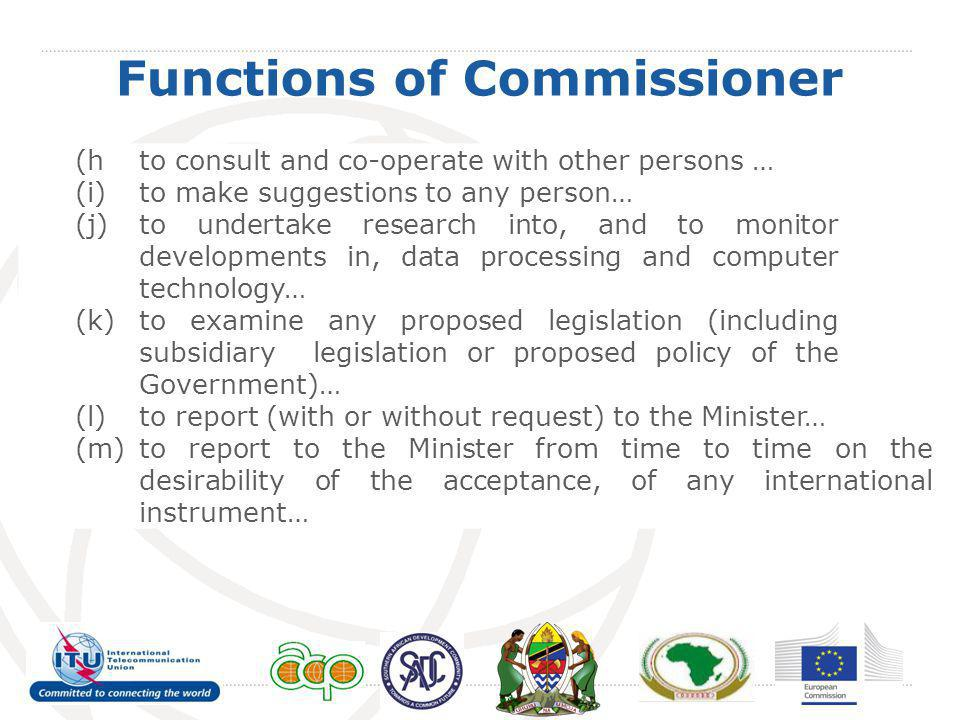Functions of Commissioner (hto consult and co-operate with other persons … (i)to make suggestions to any person… (j)to undertake research into, and to