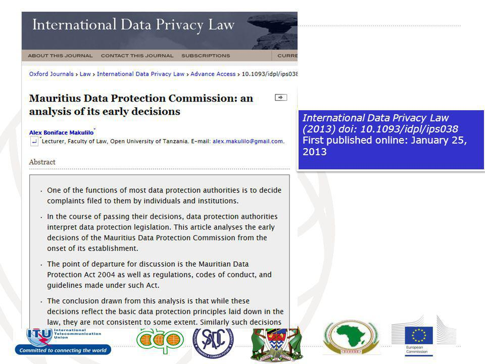 International Data Privacy Law (2013) doi: 10.1093/idpl/ips038 First published online: January 25, 2013