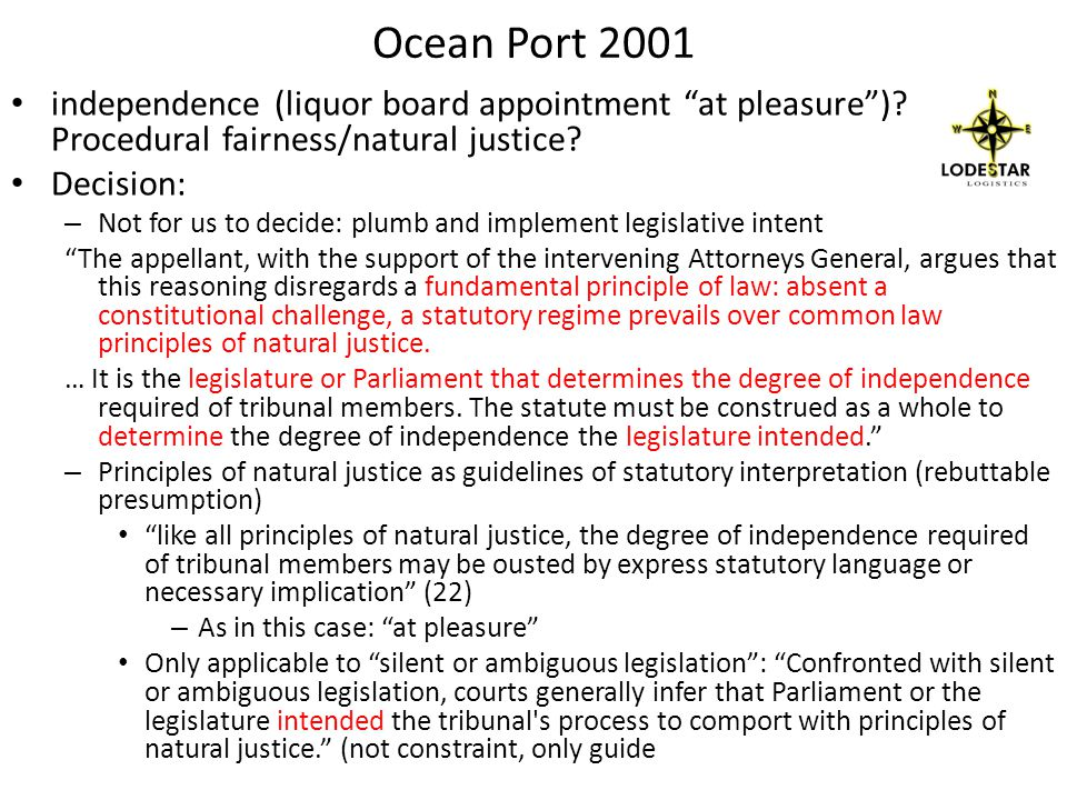 Ocean Port 2001 independence (liquor board appointment at pleasure).