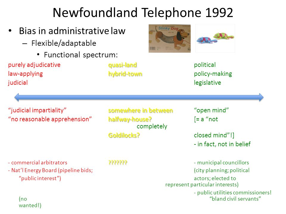Newfoundland Telephone 1992 Bias in administrative law – Flexible/adaptable Functional spectrum: quasi-land purely adjudicativequasi-landpolitical hybrid-town law-applyinghybrid-townpolicy-making judiciallegislative somewhere in between judicial impartiality somewhere in betweenopen mind halfway-house.