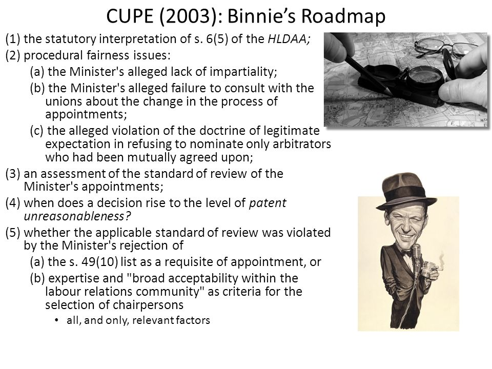 CUPE (2003): Binnies Roadmap (1) the statutory interpretation of s. 6(5) of the HLDAA; (2) procedural fairness issues: (a) the Minister's alleged lack
