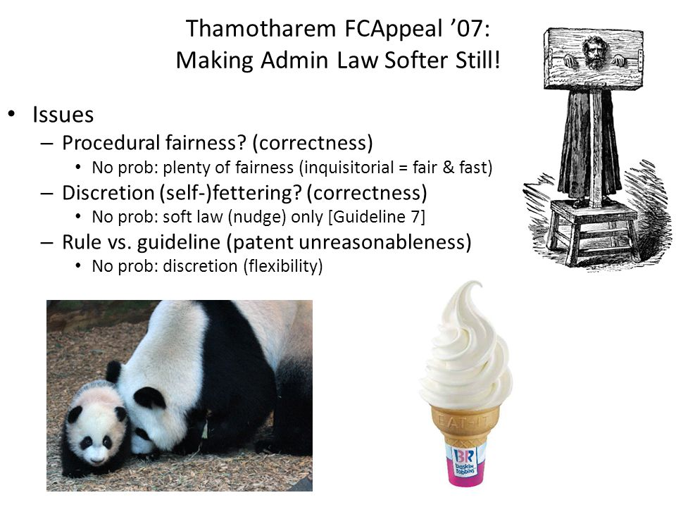 Thamotharem FCAppeal 07: Making Admin Law Softer Still! Issues – Procedural fairness? (correctness) No prob: plenty of fairness (inquisitorial = fair