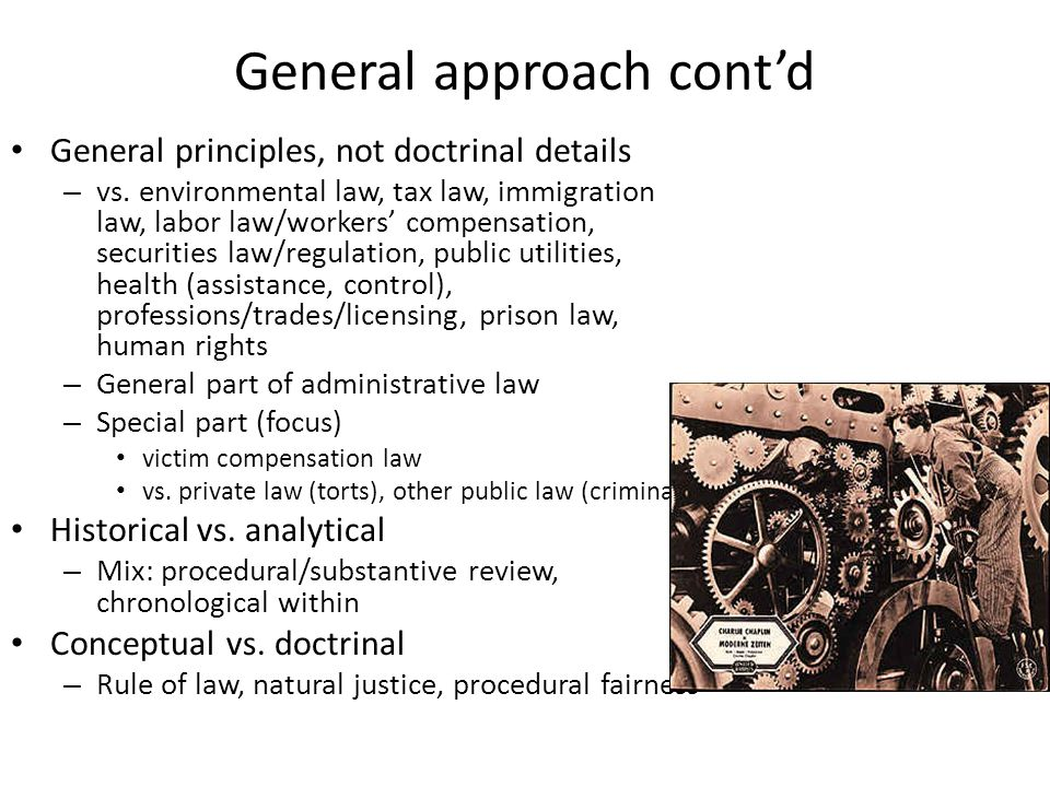 General approach contd General principles, not doctrinal details – vs. environmental law, tax law, immigration law, labor law/workers compensation, se
