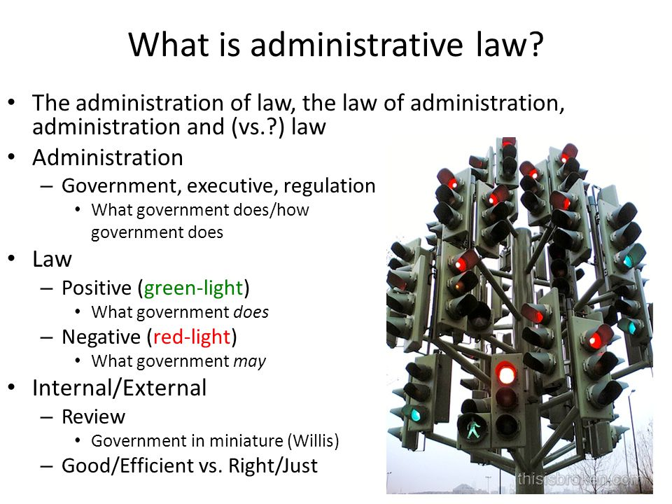 What is administrative law? The administration of law, the law of administration, administration and (vs.?) law Administration – Government, executive