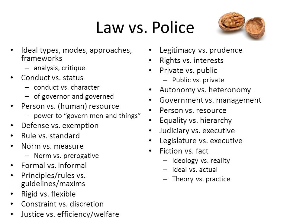 Law vs. Police Ideal types, modes, approaches, frameworks – analysis, critique Conduct vs. status – conduct vs. character – of governor and governed P