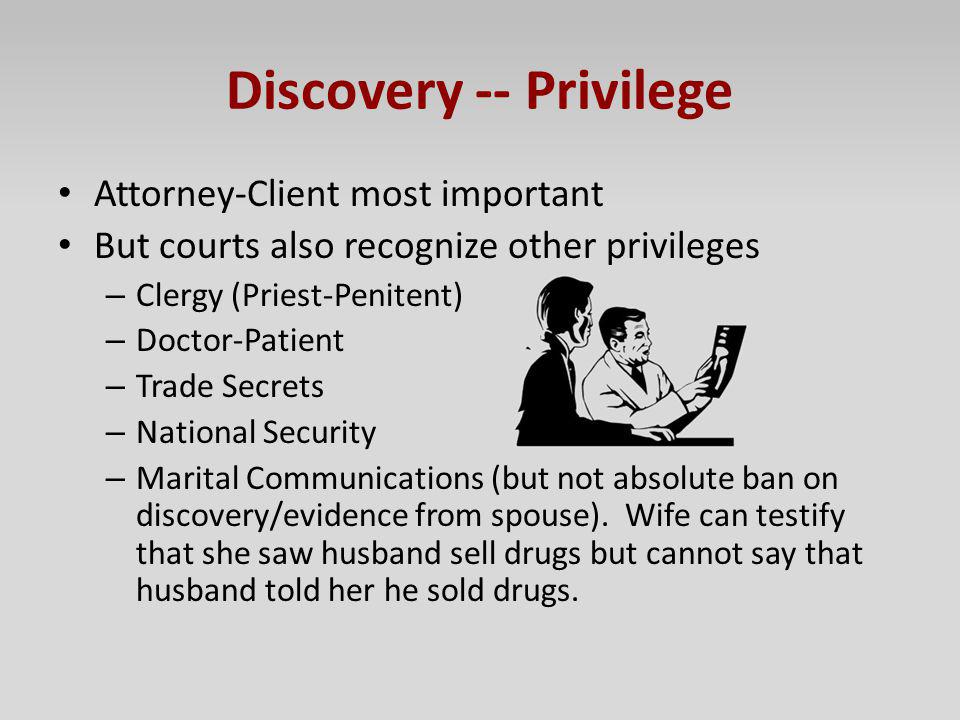 Discovery -- Privilege Attorney-Client most important But courts also recognize other privileges – Clergy (Priest-Penitent) – Doctor-Patient – Trade S